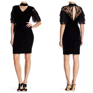 Black velvet tiered lace sleeve sheath dress S